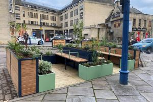 Parklet with bench seating