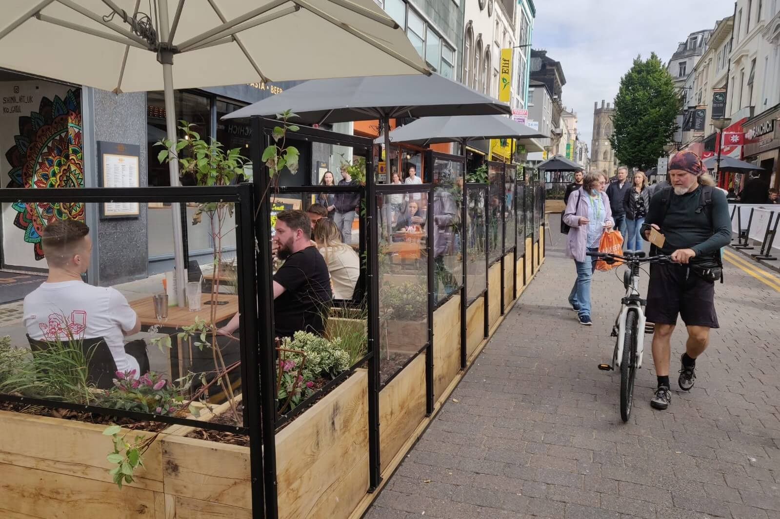 Parklets with perspex walling